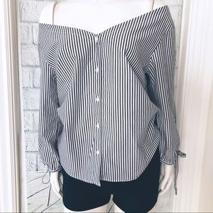 NWOT Madewell Striped Off Shoulder top M
